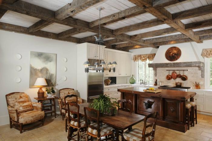 déco cuisine ouverte plafond poutre apparente massive