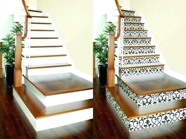 déco montée d'escalier papier peint avant après
