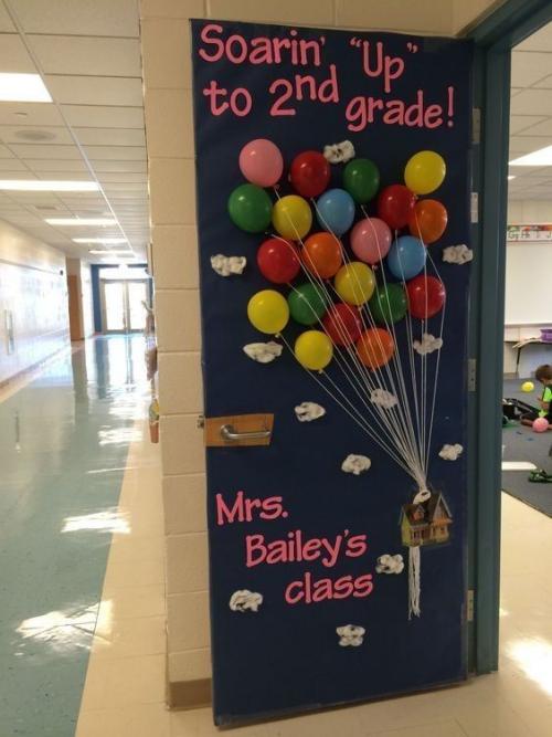 déco porte de classe une multitude de ballons