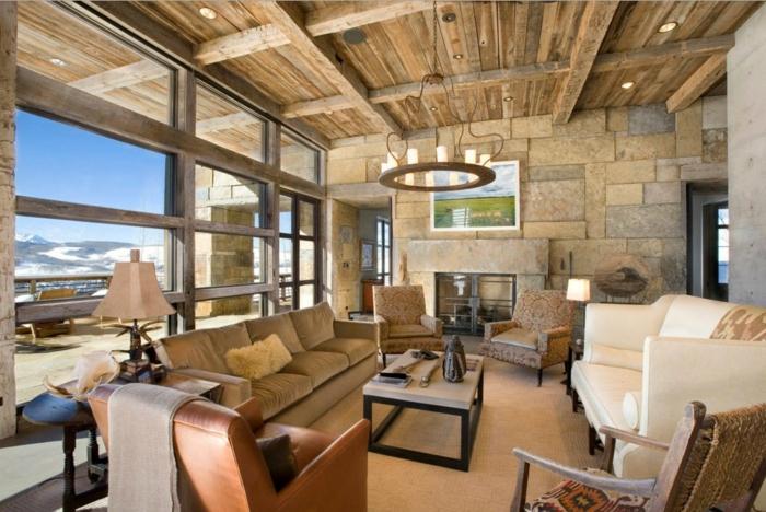 déco salon bois et pierre naturelle plafond poutre apparente