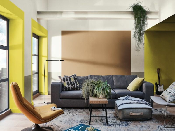 déco salon couleur de peinture tendance 2019 dulux brun miel épicé