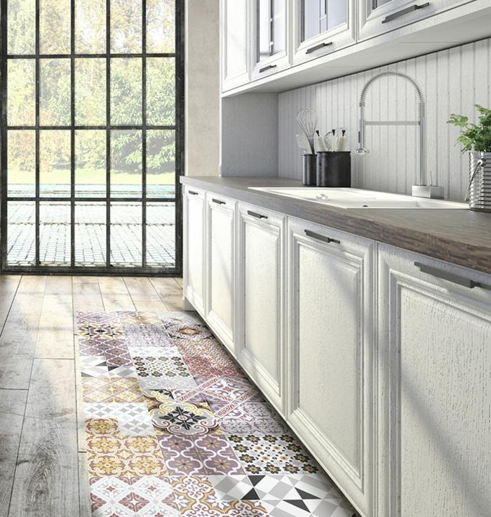 déco sol de cuisine en vinyle carreaux de ciment