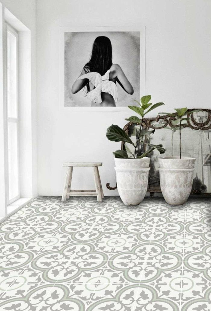 tapis vinyle carreaux de ciment pour d corer le sol avec succ s. Black Bedroom Furniture Sets. Home Design Ideas