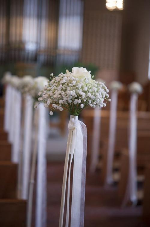 décoration mariage bouquets de fleurs blanches
