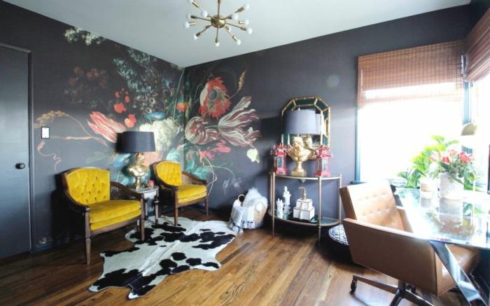 décoration tendance style maximaliste cabinet papier peint floral