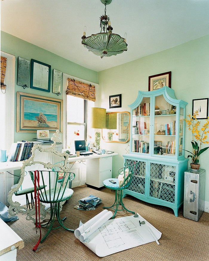 décoration tendance style maximaliste cabinet