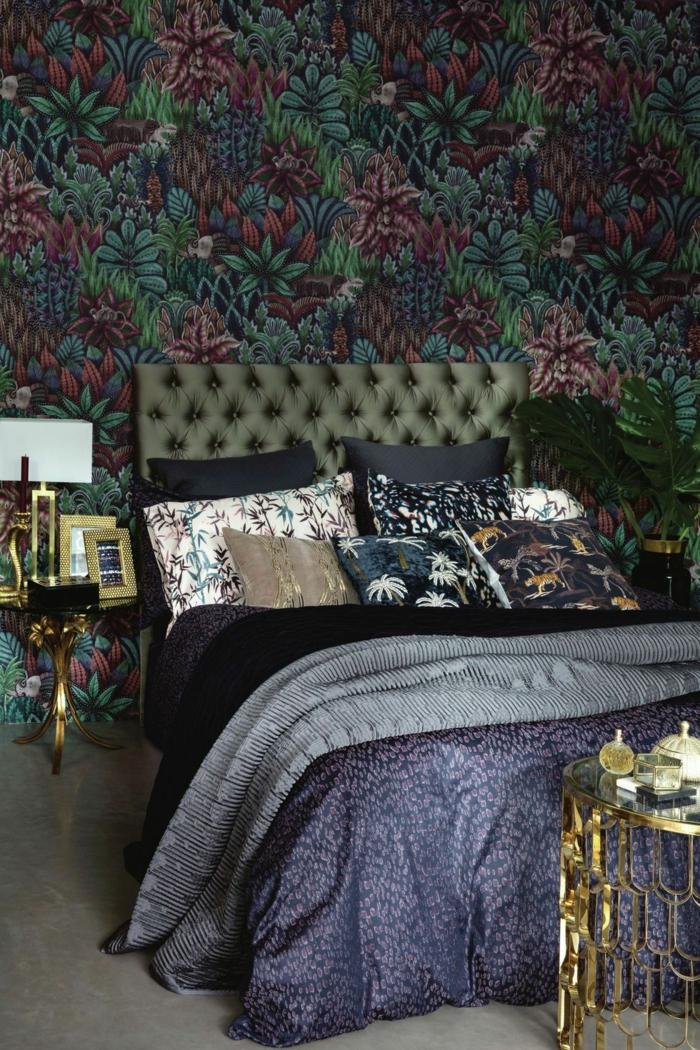 décoration tendance style maximaliste chambre accents dorés