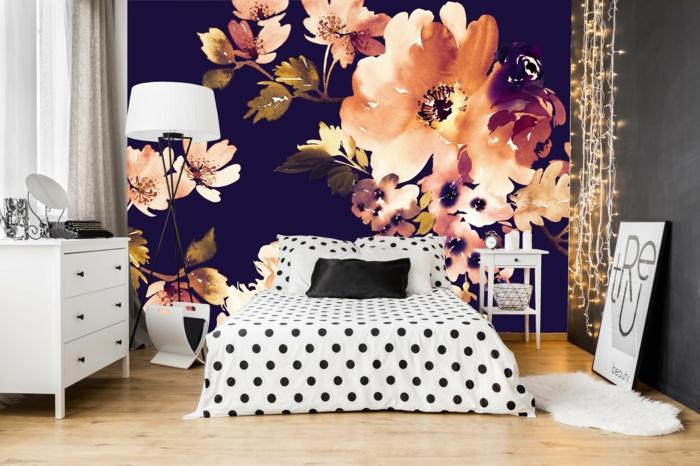 décoration tendance style maximaliste chambre noir et blanc
