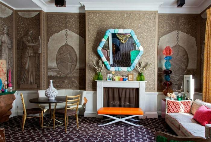 décoration tendance style maximaliste grand miroir