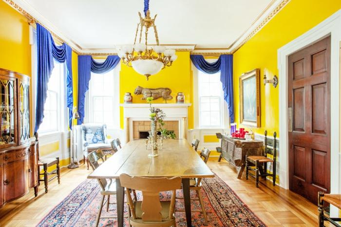 décoration tendance style maximaliste salle à manger jaune gen-z