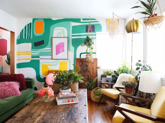 décoration tendance style maximaliste salon accents verts