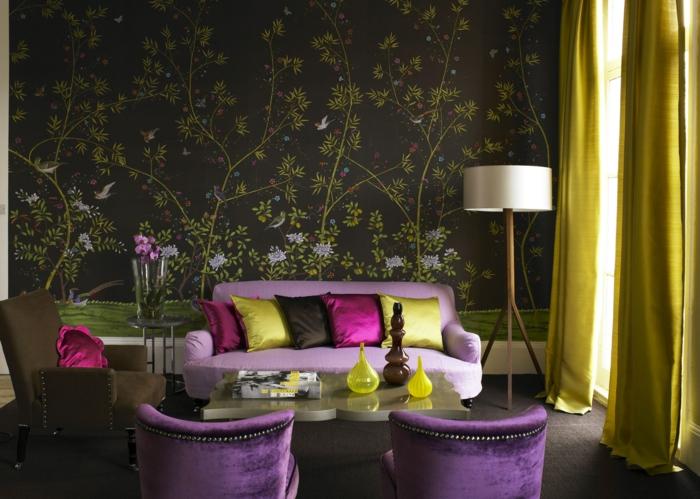 décoration tendance style maximaliste salon accents violets