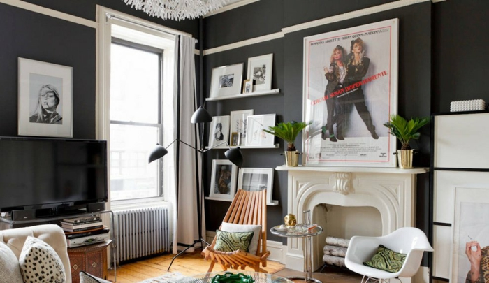 décoration tendance style maximaliste salon gris anthracite