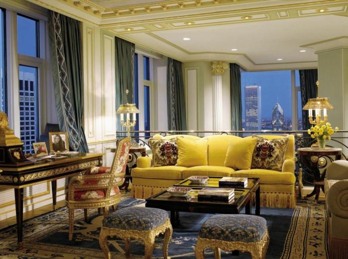 décoration tendance style maximaliste salon jaune z-gen