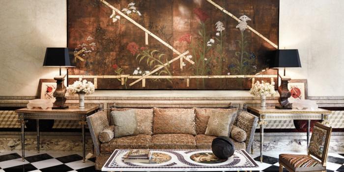 décoration tendance style maximaliste salon marbre et bois