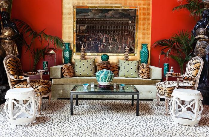décoration tendance style maximaliste salon motifs animaux