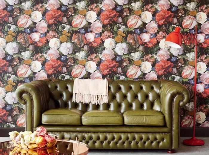 décoration tendance style maximaliste salon papier peint floral