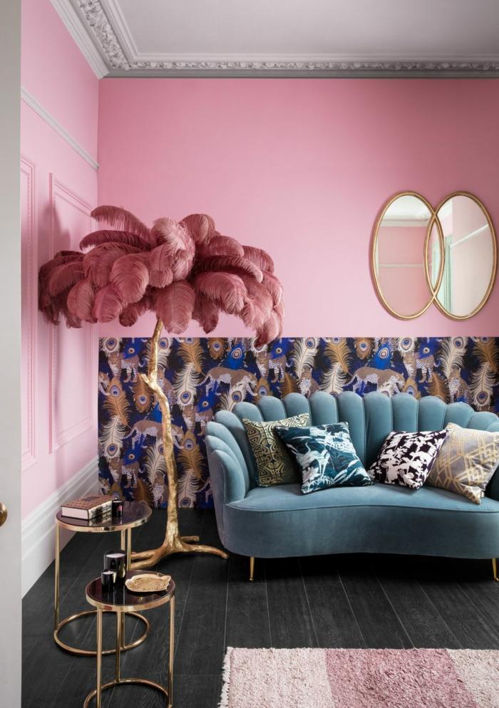 décoration tendance style maximaliste salon rose poudre