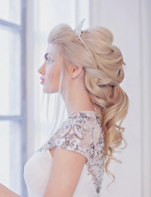 diadème mariage cheveux blonds