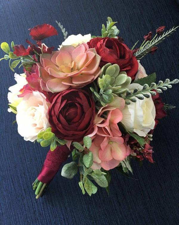 diy bouquet de mariée artificiel fleurs en soie