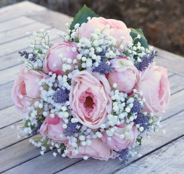 diy bouquet de mariée artificiel roses