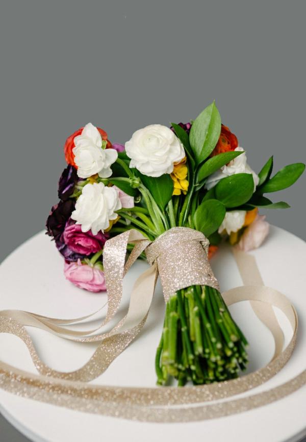 diy bouquet de mariée artificiel ruban décoratif