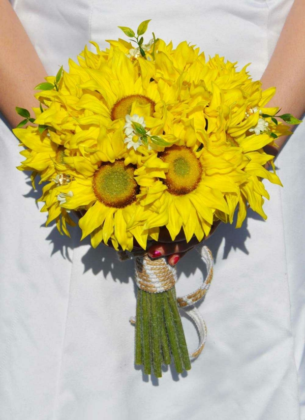 diy bouquet de mariée artificiel tournesols