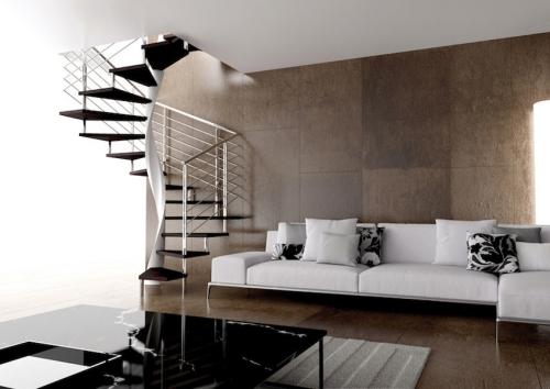 escalier hélicoïdal poteau central en blanc