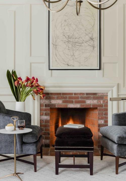fauteuil relax cheminée en briques