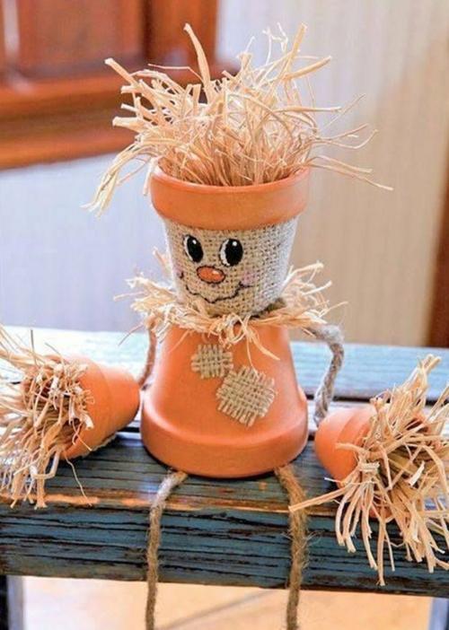 idée activité manuelle automne avec pots en terre cuite
