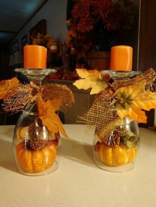 idée activité manuelle automne avec verres à vin