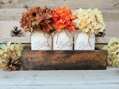 idée activité manuelle automne bocaux fleurs