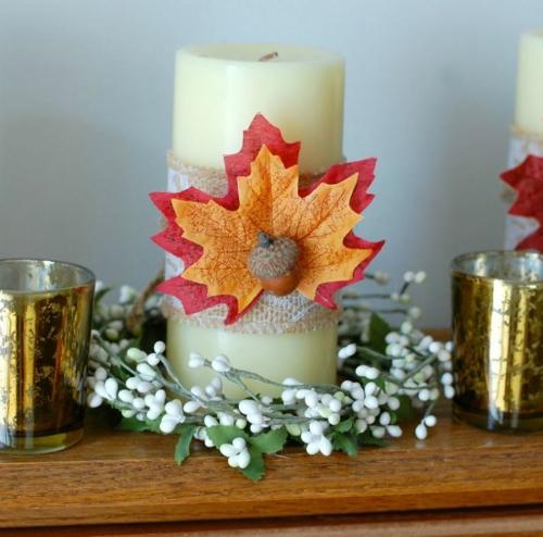 idée activité manuelle automne bougie décorée