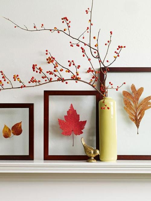 idée activité manuelle automne cadre feuilles sèches