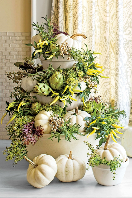 idée activité manuelle automne citrouilles plantes