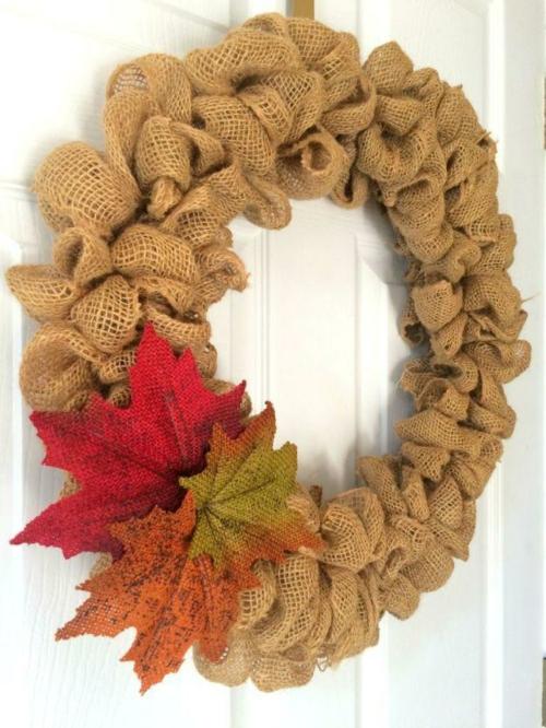 idée activité manuelle automne couronne de porte en toile de jute