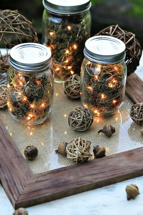 idée activité manuelle automne déco rustique mason jar