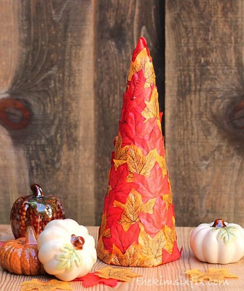 idée activité manuelle automne diy cône de papier mâché