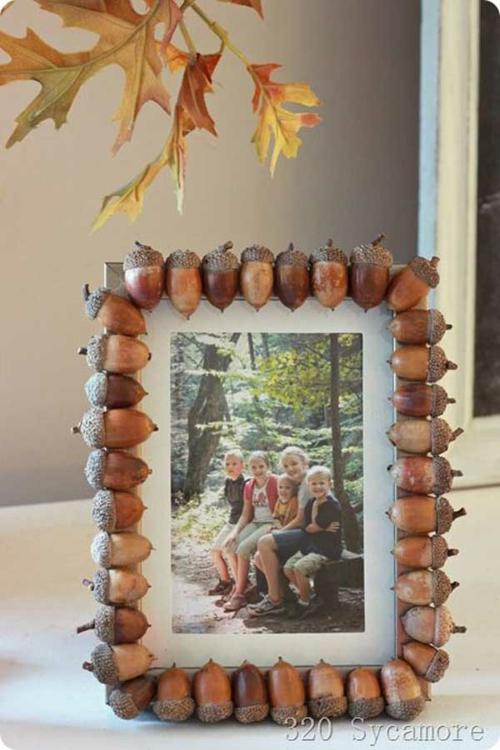 idée activité manuelle automne diy cadre de photo personnalisé