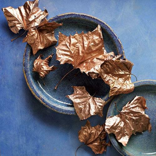 idée activité manuelle automne diy feuilles dorées
