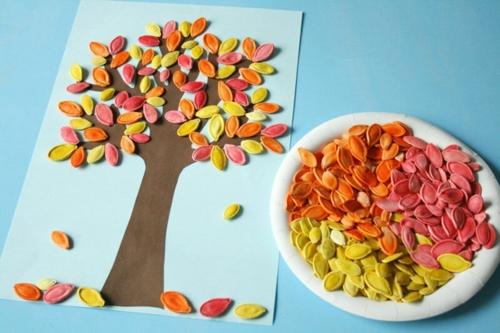 idée activité manuelle automne diy tableau graines de citrouille
