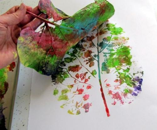 idée activité manuelle automne empreinte peinture acrylique