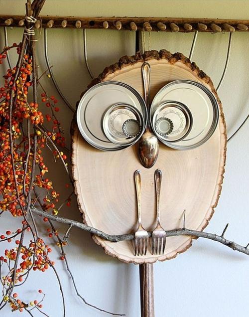 idée activité manuelle automne hibou fait d'objets de récup