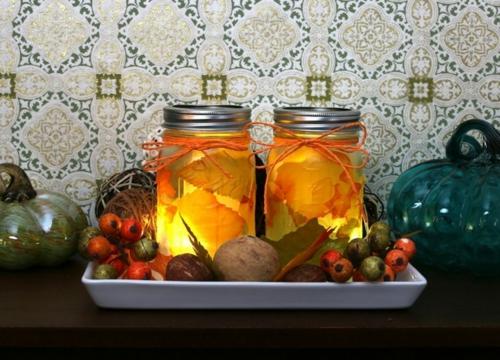 idée activité manuelle automne lanternes mason jar