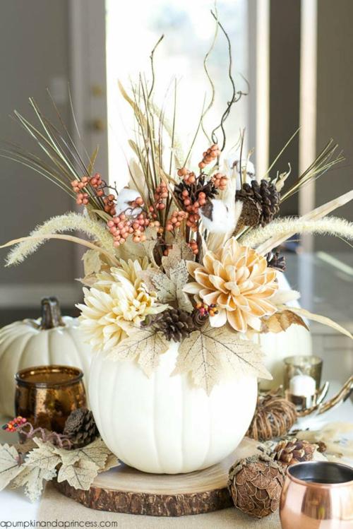 idée activité manuelle automne vase plantes sèches