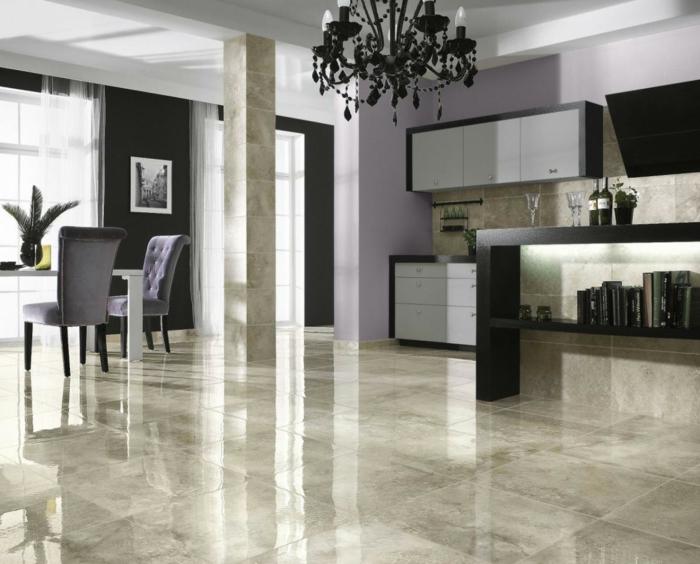 idée de cuisine ouverte sol marbre