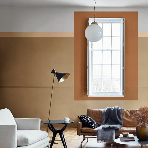 idée de déco salon couleur de peinture tendance 2019 dulux brun miel épicé