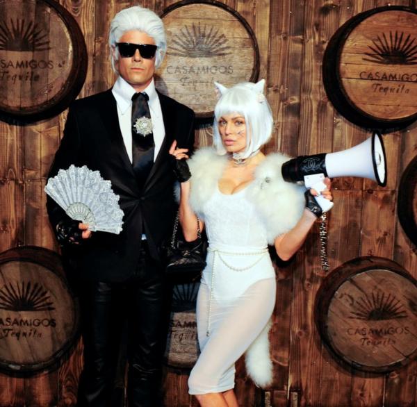 idée de déguisement couple halloween Karl Lagerfeld et son chat domestique Choupette