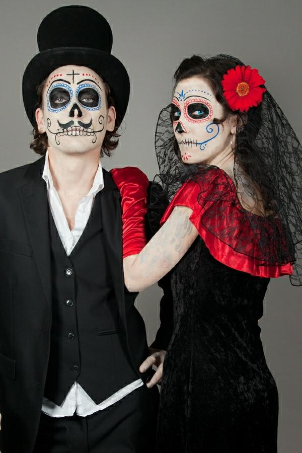 idée de déguisement couple halloween cânes de sucre mexicain