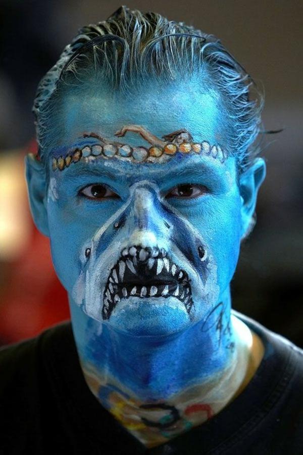 idée de maquillage pour halloween créature marine fantastique